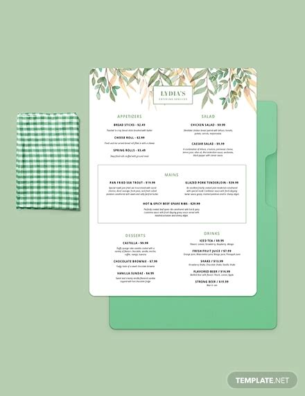 catering menu designs ai psd google docs apple