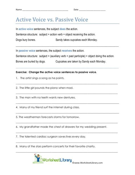 worksheets active vs passive voice worksheet opossumsoft