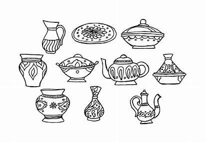 Crockery Dishes Oriental Vector Muslim Clipart Edit