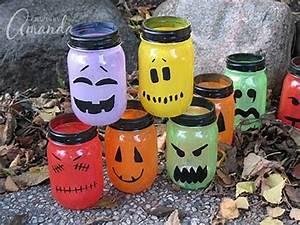 Halloween Luminaries: spooky colorful painted jars