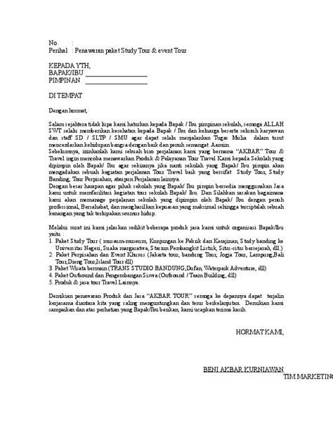 Contoh Penawaran Produk Docx by Surat Penawaran Tour Beni Akbar Academia Edu