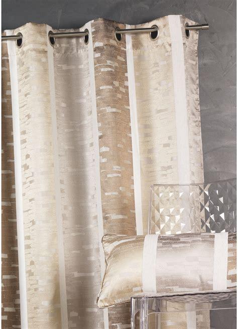rideau en jacquard design 224 rayures verticales beige