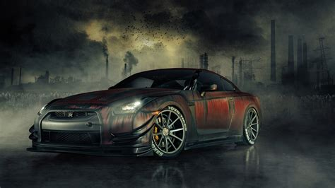 nissan gtr  zombie killer wallpapers hd wallpapers