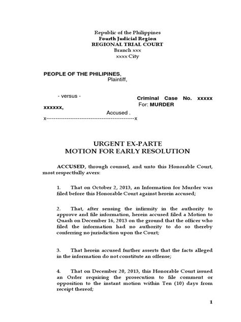 urgent  parte motion  early resolution
