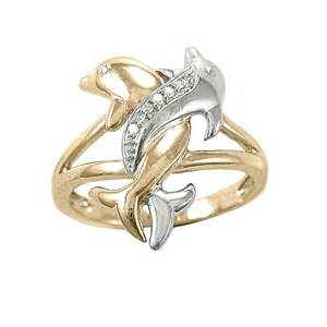 dolphin wedding rings two tone gold accent intertwined dolphin ring rings