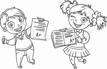 Test Results Cartoon Student Boys Showing Perfect