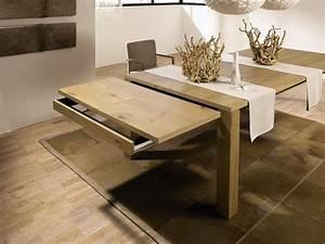 Table a manger extensible bois for Salle À manger contemporaineavec petite table À manger extensible