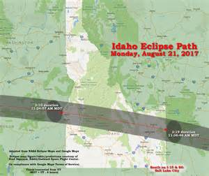 Idaho Solar Eclipse 2017 Path Map