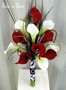 Wedding Bouquet real touch red white calla lily bridal ...