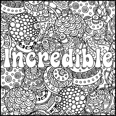positive word coloring page incredible positive adult