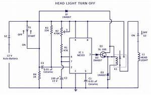 Automatic Head Light Turn Off Circuit Diagram