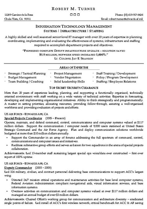 information technology manager resume sle resume for information technology manager