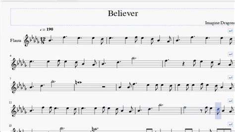 Believer Imagine Dragons Flute Sheet Music