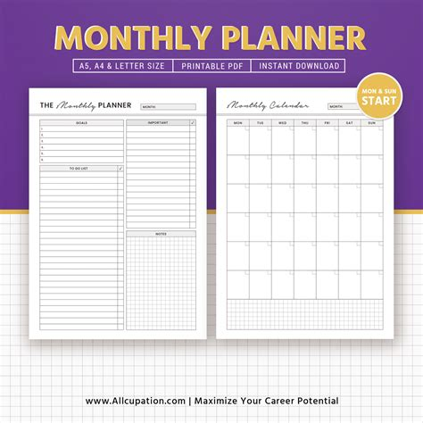 monthly planner monthly calendar  calendar