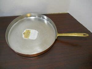 paul revere ware  solid copper stainless steel crepe souffle flat bottom pan ebay
