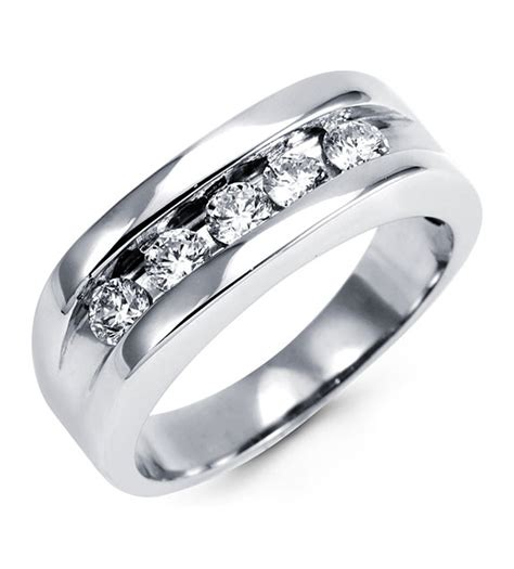 mens 14k white gold channel wedding ring wedding bands bridal jewelry