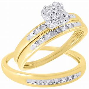 10k yellow gold diamond mens ladies engagement ring trio With ladies wedding ring sets