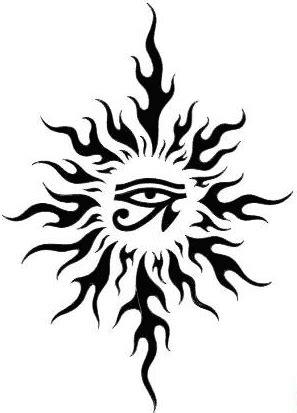 sun tattoo, Horus eye   Sun tattoo tribal, Sun tattoos