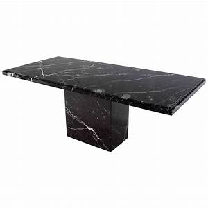 Single Pedestal Black Marble Top Dining Table at 1stdibs