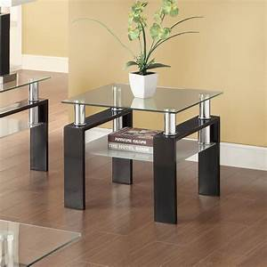 Coaster, Furniture, Glass, Top, End, Table, With, Glass, Shelf