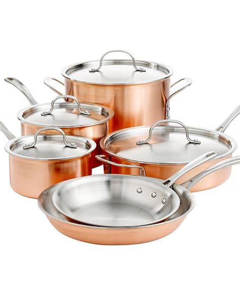 calphalon tri ply copper  piece cookware set reviews cookware kitchen macys