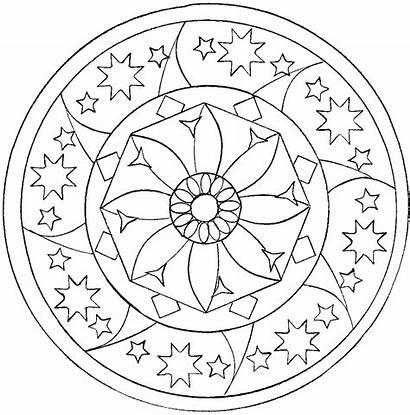 Mandala Mandalas Coloring Star Easy Zen Pages