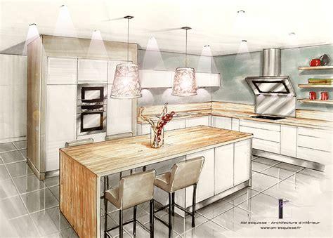 perspective cuisine conception et décoration d 39 une cuisine entrée et pièce à