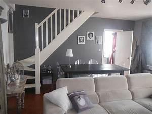 decoration peinture gris et blanc salon salle a manger With couleur peinture salon taupe 15 meuble salle de bain bois massif