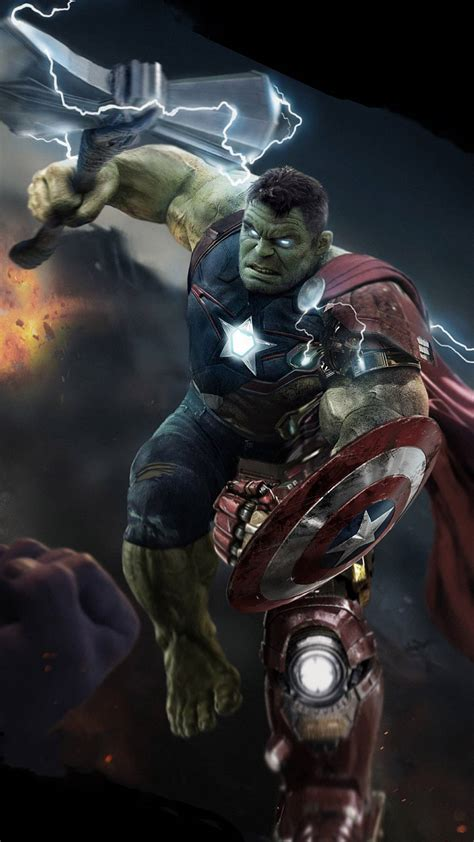 hulk lifts thor stormbreaker iphone wallpaper iphone