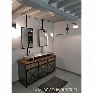 meuble industriel de salle de bain plus auge avec miroir With meuble industriel salle de bain