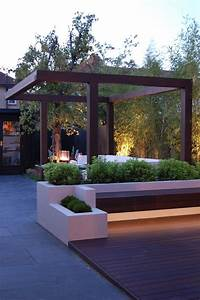 Main view of garden with built in planters, slate paving ...