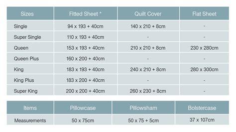 Single Duvet Size In Cm by Bed Sheet Bedding Sizes Measurements Bedorigin Sg