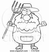Farmer Clipart Pitchfork Cartoon Anger Angry Coloring Plump Waving Thoman Cory Vector Outlined Royalty Rf Illustrations 2021 Clipartof sketch template