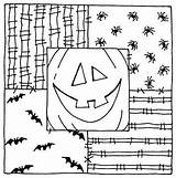 Halloween Coloring Square Embroidery Clipart Templates Crafts Patterns Bookmarks 2371 U2 Arts sketch template