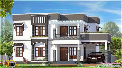Home Design 4 Bhk : 4 Bhk Flat Roof House Exterior