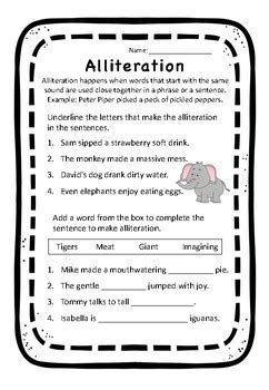 alliteration worksheets for year 1 alliteration worksheet by acing primary teachers pay