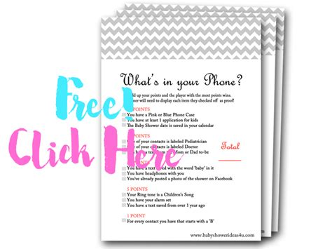 what s your phone whats in your phone free baby shower baby shower
