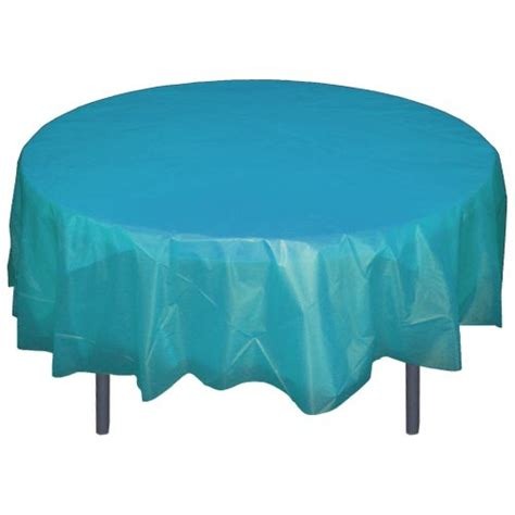 round plastic table covers turquoise 84 quot round plastic tablecloths table covers