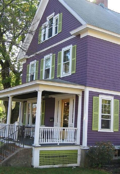 grape white with green shutters exterior color
