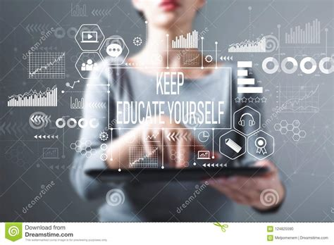 Keep Educate Yourself With Woman Using A Tablet Stock