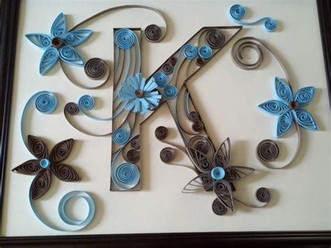 custom  monogram letters paper quilled art ooak