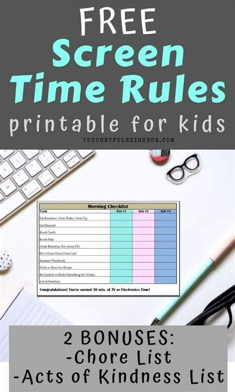 screen time rules printable  kids screen time