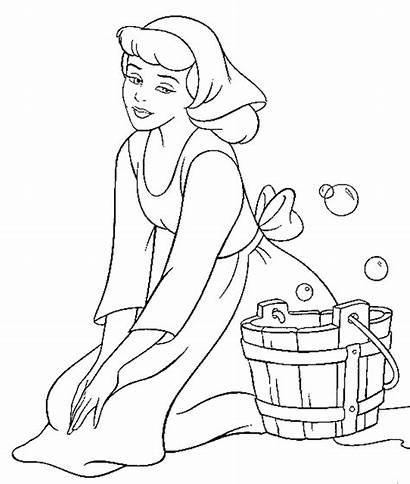 Cinderella Gambar Mewarnai Coloring Disney Princess Colouring