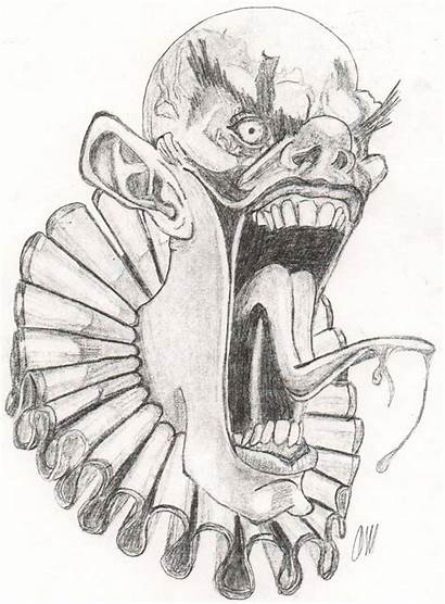 Clown Evil Scary Drawings Drawing Coloring Pages