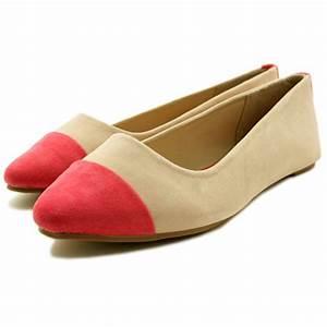 Elise Toe Cap Flat Pump Ballet Ballerina Shoes - Cream ...
