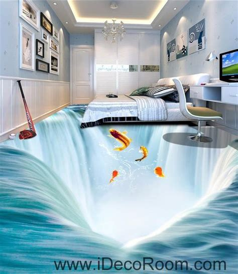 waterfall fish jumping 00034 floor decals 3d wallpaper wall mural stic idecoroom