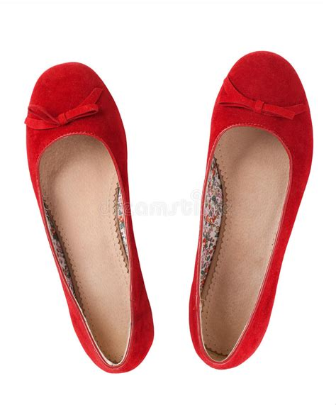 red flat shoes stock image image  shoe woman footwear