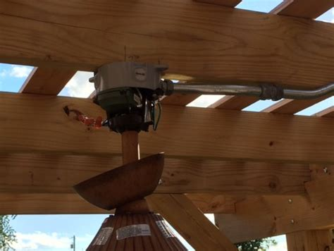 weatherproof fan rated box need help mounting our new outdoor ceiling fan under our