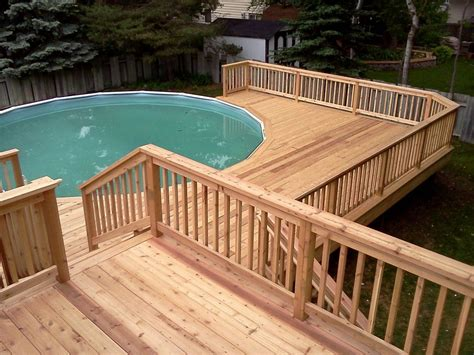 Here's A Multi Level Pool Deck For An Above Ground Pool