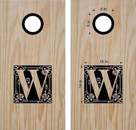 monogram letter  family  cornhole board decals